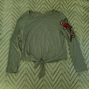 Grey Long Sleeve Tee with Roses